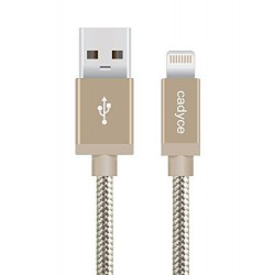 Cadyce USB SyncLightning cable for iPod, iPhone & iPad (1.2M) (Cotton Braided/METAL Connector) GOLD CA-ULCG (1.2M)