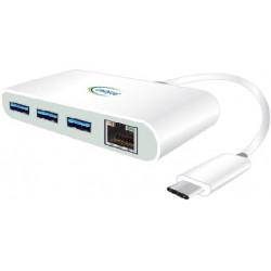 Cadyce USB-C to 3 Port USB 3.0 Hub with Gigabit Ethernet Adapter CA-C3HE